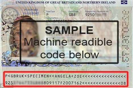 VISA - Sample of machine readible code